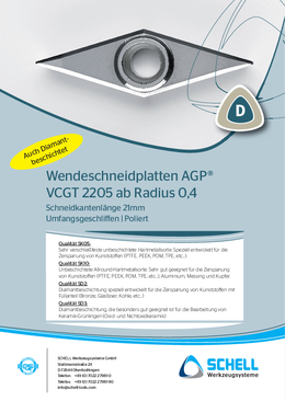 AGP indexable inserts VCGT 2205 from radius 0.4