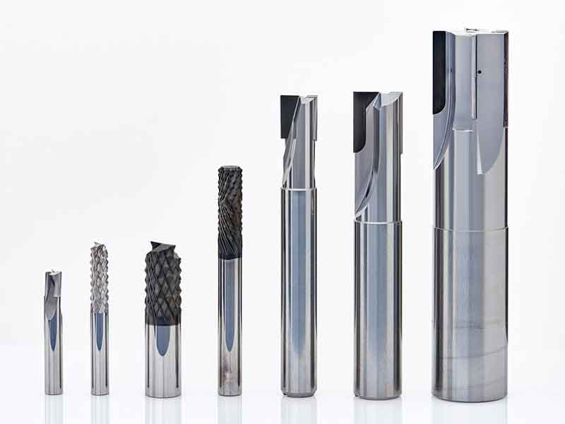 PCD equipped solid carbide end mills for milling of GRP, CFK and aluminum