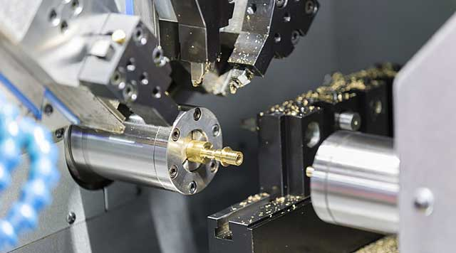 Carbide cutting tools from SCHELL in use on a CNC lathe